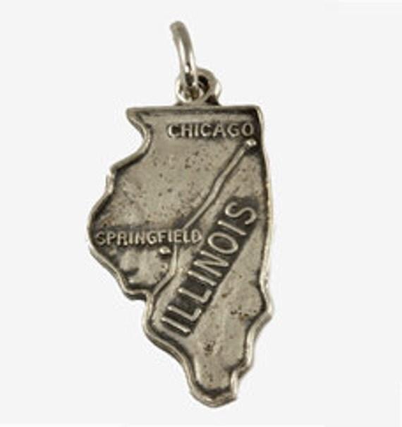 Vintage Sterling Silver State of Illinois Charm for Bracelet - Souvenir