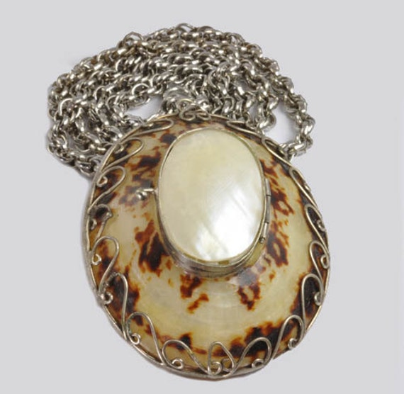 """Vintage Hinged Seashell Pendant or Pill Box Decorated with Silver Wire on 24"""" Chain"""