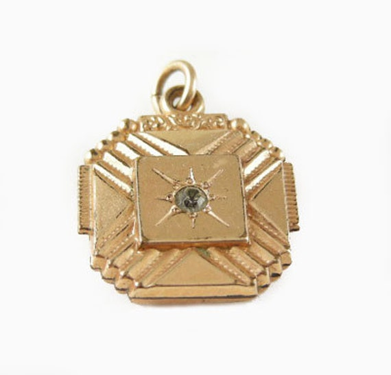 Vintage Gold Filled Watch Fob with Rhinestone Accent