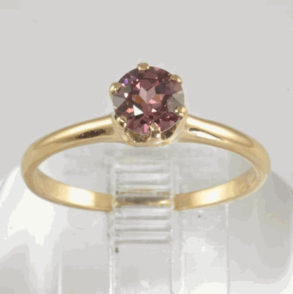 Antique Engagement Ring - 14K Gold and Pink Rhodolite Garnet Solitaire Ring