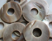 Shell Frame Beads Donut Shape Light Brown 30mm QTY 14