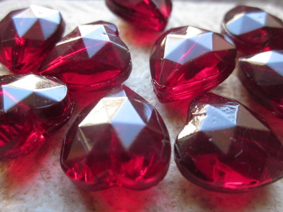 Vintage German Glass Transparent Red Faceted Heart Beads