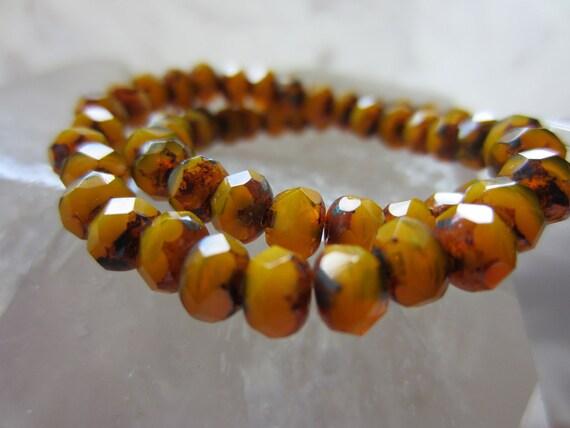 Czech Glass Beads Fire Polished Gem Cut Rondelle Light Fire Opal Picasso 3mm x 5mm QTY 35