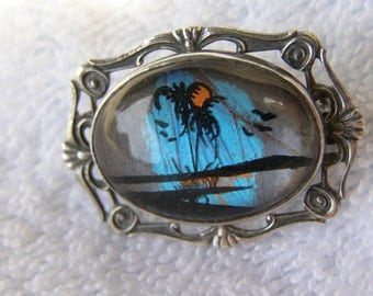 antique sterling butterfly wing brooch pin vintage palm tree by hoffman estate signed 5.1g
