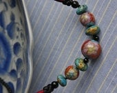 Cloisonné Beads, Donuts-shaped Turquoise and Ivory Color Stones & Agate Beads Necklace with Silk Cords