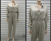 Reserved for Hanna- Sale: Taupe Silk Jumpsuit by L'Zinger