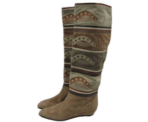 Hold for Donna- Sale: Vintage Pupi D' Angieri Patchwork Suede Boots 8.5