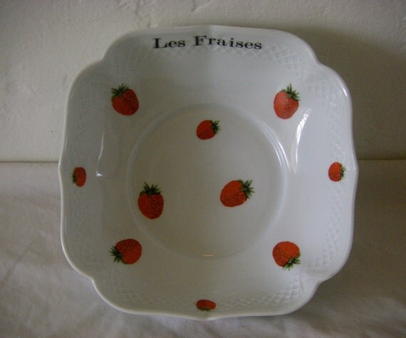 Vintage French Serving Bowl - 'Les Fraises' (strawberries), hand painted porcelain