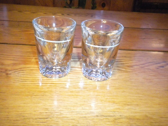 Vintage Shot Glasses Heavy Thick Glass White Accents