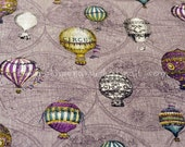 8093A - 1 yard Japanese Cotton Linen Fabric - Vintage Hot-air Balloon - Purple-gray