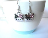 Dangle Earrings: Hello Kitty with Pink flower