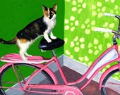 "Posing - Greeting Card 5"" x 7"" - Cat & Pink Cruiser - BikeLoversAlley, by Mattie O."
