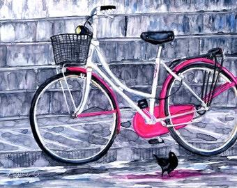 "Pretty In Pink - Blank Greeting Card 5"" x 7"" -  BikeLoversAlley, by Mattie O."