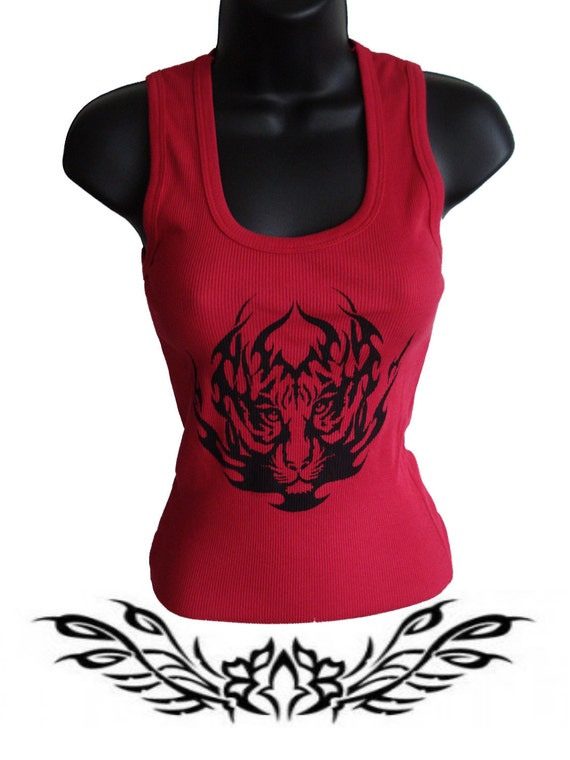 Women tank top Red with tiger Design