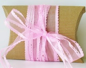 5 Yards Organza Ribbon with Picot Detail - 1 inch Wide - PINK
