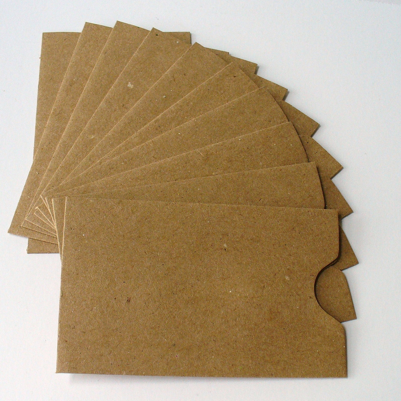 10 Kraft Paper Gift Card Sleeves Envelopes for Photos