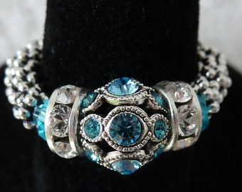 Stretch Ring, Adjustable, Aquamarine Gemstone, Swarovski Filigree, March Birthstone, Turquoise Ring, Birthday Gift for Mom, Sterling Silver