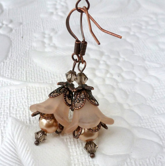 Lucite Flower Earrings Dangle Drop - Vintage Style - Copper - Cafe Latte, Light Brown - Wedding Bridesmaid Earrings Jewelry