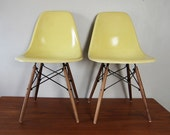 RESERVED FOR NATACHA --- Herman Miller Eames Chairs - Light Yellow Pair