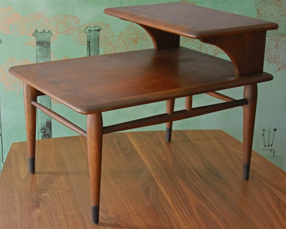 mid century modern lane two tier end table chocolate. Black Bedroom Furniture Sets. Home Design Ideas