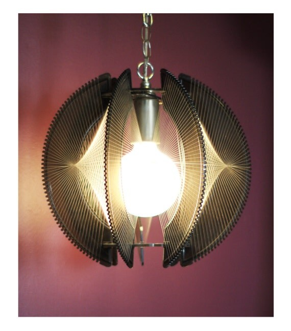 RESERVED FOR KATELIN --- Please Do Not Purchase --- Vintage Retro Pendant Lamp - Tension Wire