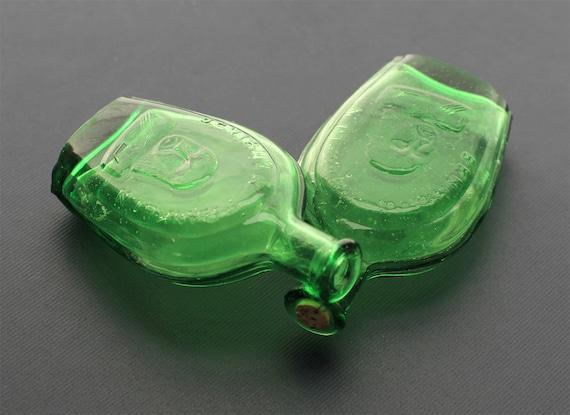 Green Glass Bottles - Ben Franklin Mini Bitters Bottles