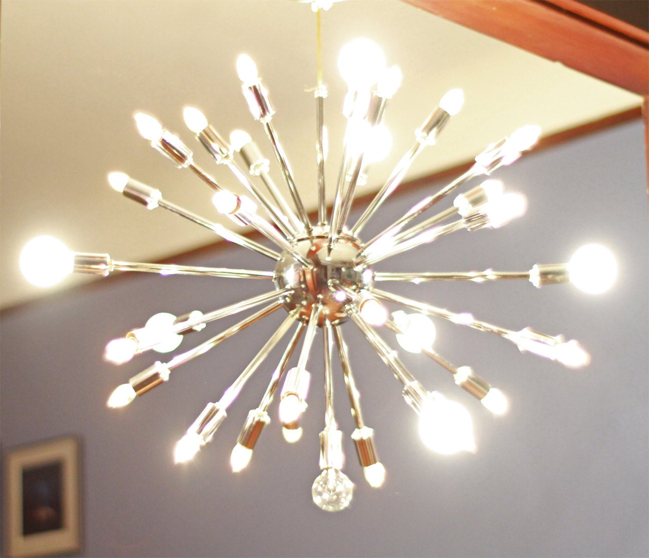 Vintage sputnik chandelier mid century modern by for How to make a modern chandelier