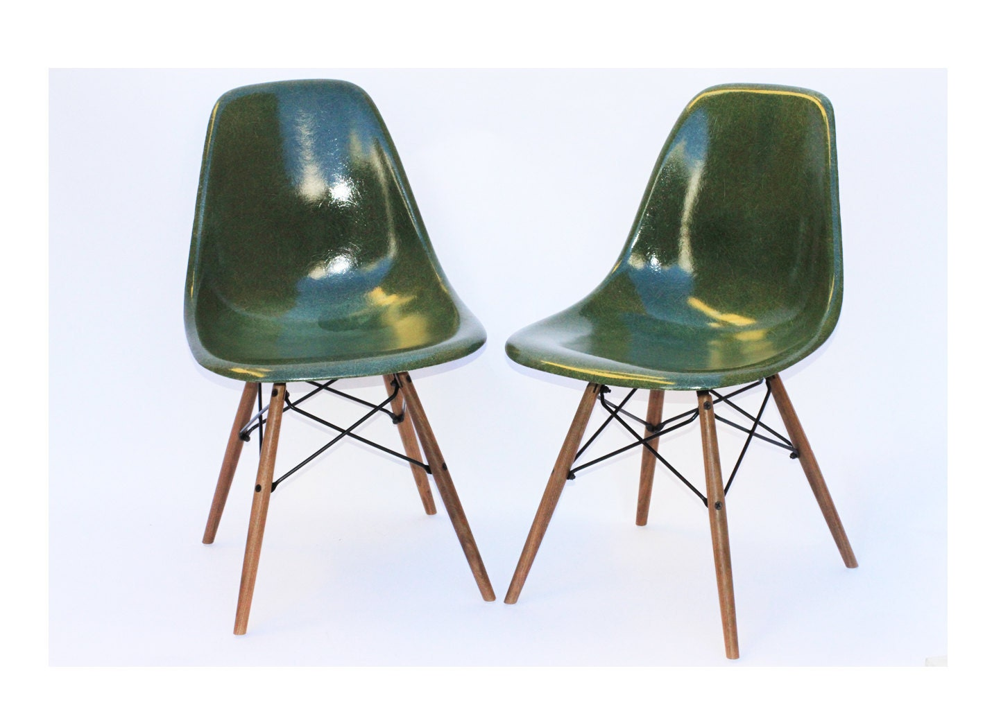 reserved herman miller eames chairs dark green pair reserved zoom - Herman Miller Eames Chair