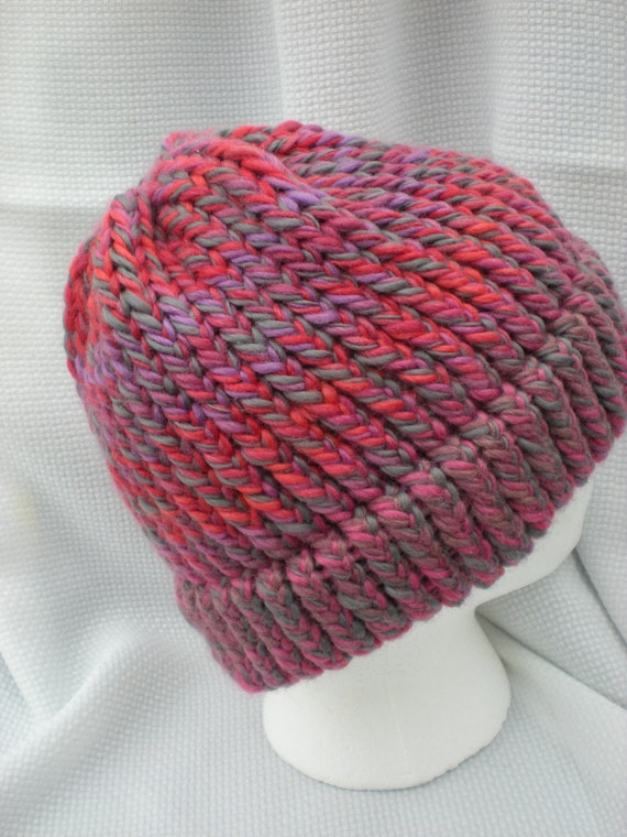 Knitted merino hat - color shifting tonal yarn - red, purple, pink, sand, slate gray