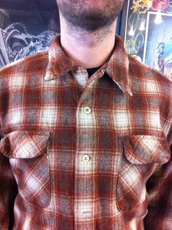 Vintage Pendleton wool button up flannel shirt