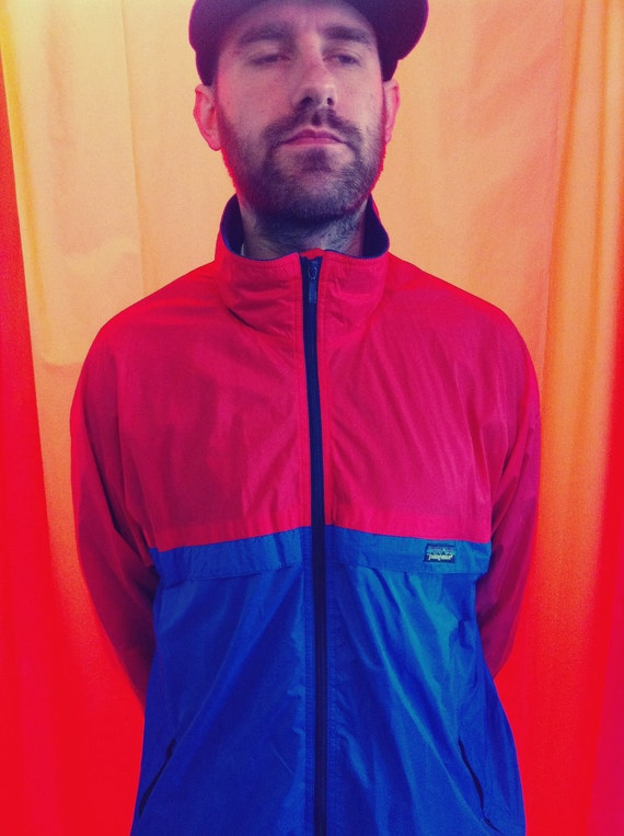 Red and Blue Patagonia zip up jacket