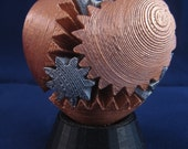 Rotating Gear Heart (3D Printed)  -- Small, custom finish