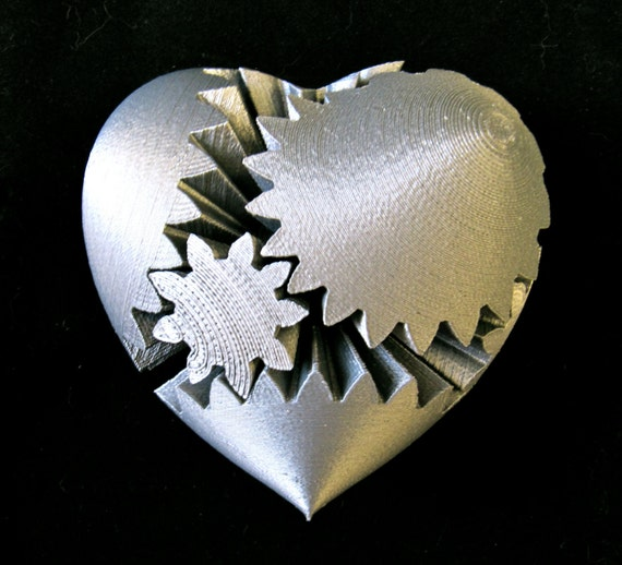 Steampunk Rotating Gear Heart 3D Printed