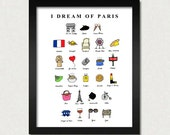 I Dream of Paris (French ABC's)- 8x10 Illustration Print