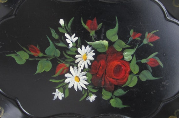 Vintage 50's Black & Red Rose Hand Painted Tole Tray.....Toleware