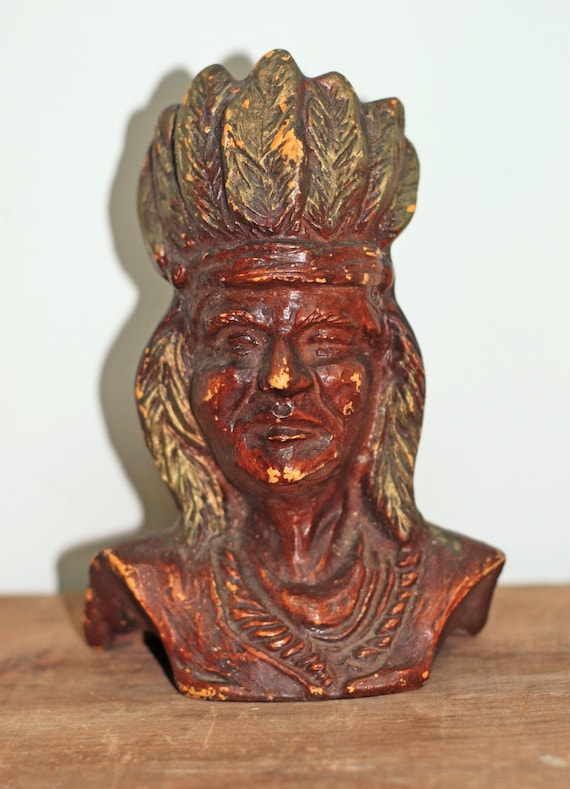 Old Native American Indian Chief Ceramic Or Pottery Head Bust