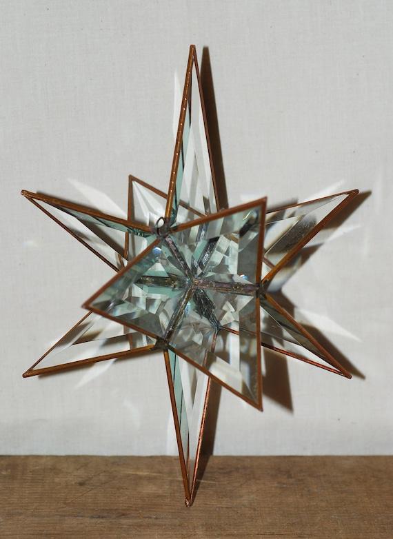 """Vintage 3D 12 Point Crystal Clear Prism 10"""" Moravian Star"""