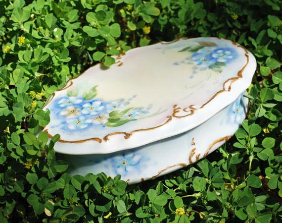 Antique French Boudour Oval Blue Forget Me Knots Floral  Vanity Box