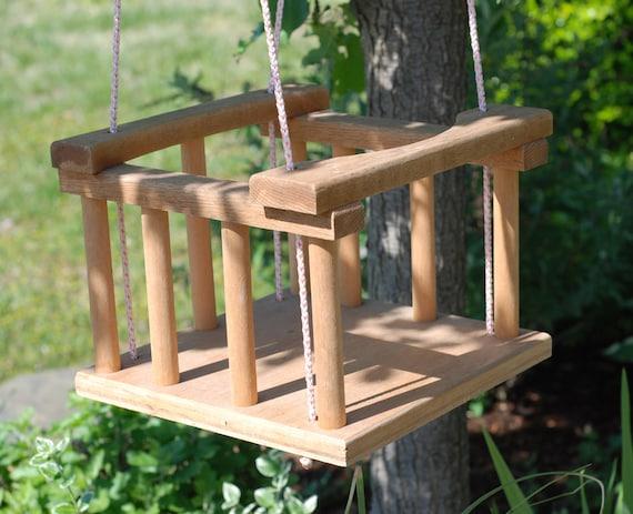 Vintage Handmade Wooden Baby Tree Swing Eco Friendly