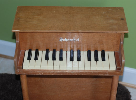 "Vintage Children's Wooden Toy 17"" Floor Piano by Schoenhut"