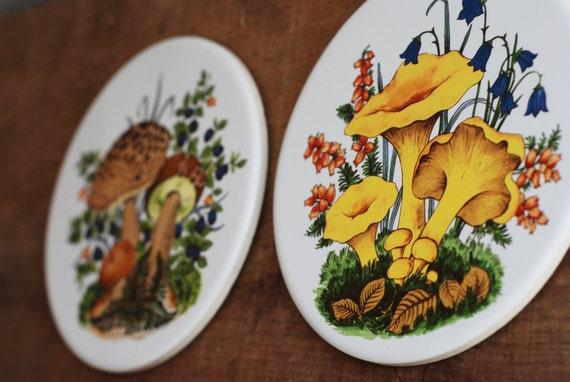 Vintage Retro 1970's Ceramic Mushroom Trivet Pair