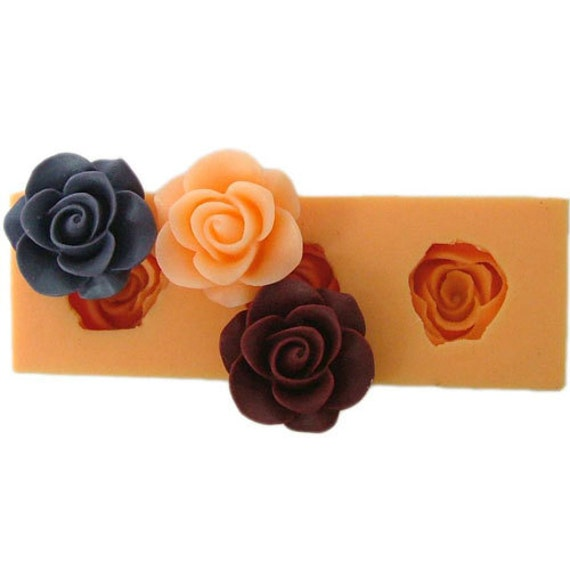 Mini 3D Silicone Soap Mold / Arylic Resin Flower Mold  with  3 Grace Roses