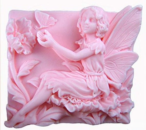 Big 3D Silicone Handmade Soap Mold with Floral Fairy / Angel - 115g