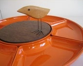 Reserved for Robin Large Mod Orange and Wood Serving Tray