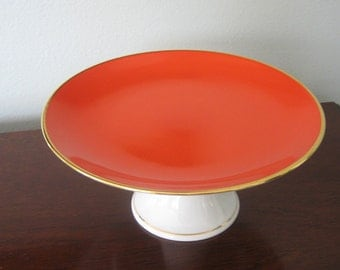 Footed Cake Plate Pedestal Dish Orange and White German Porcelain