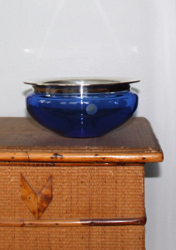 Swedish Modern Royal Copenhagen Saturn Bowl Blue Crystal with Silver Rim