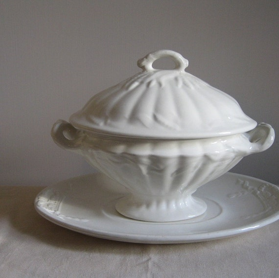 White Ironstone Covered Tureen with Under Plate Adams England Wheat Pattern