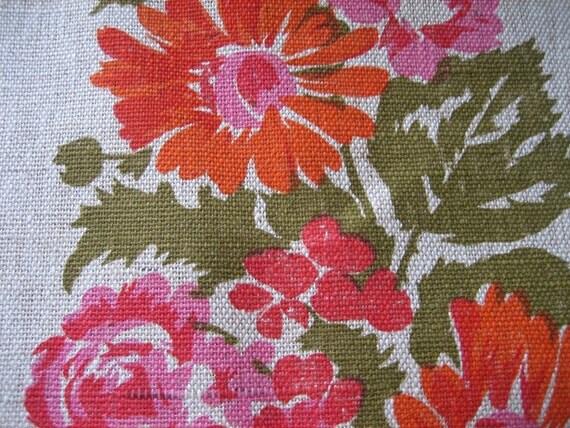 Vintage Italian Tablecloth Orange Pink Mod Flowers on Linen Unused