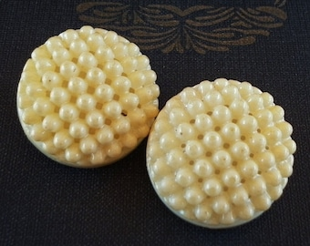 Vintage - Gorgeous cream pearl celluloid buttons - Set of 2 - 1 1/8in