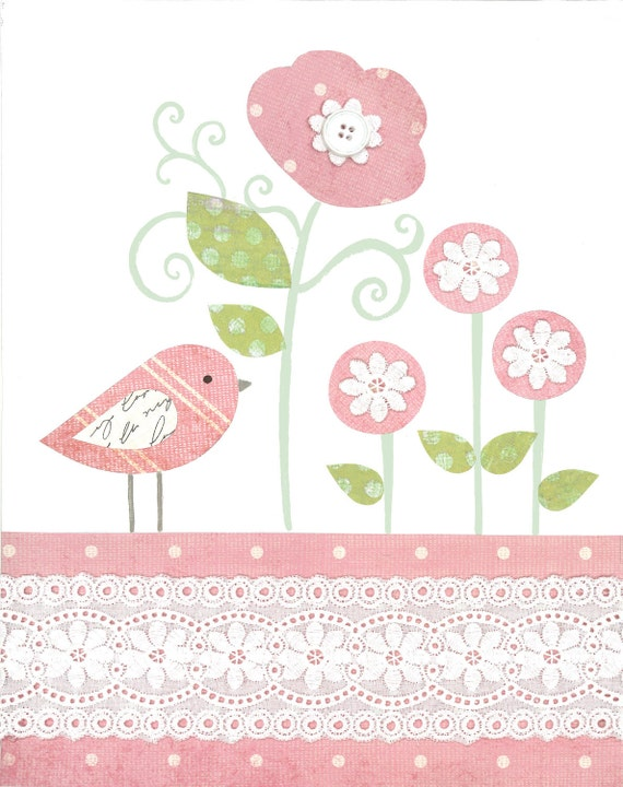 Pink And Green Wall Decor For Nursery : Pink green nursery baby girl flower garden print